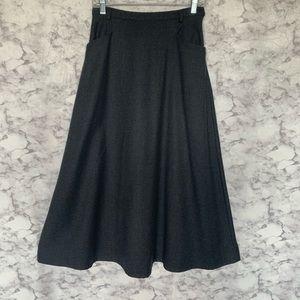 Vintage Herman Geist Gray Pure Wool Midi Skirt